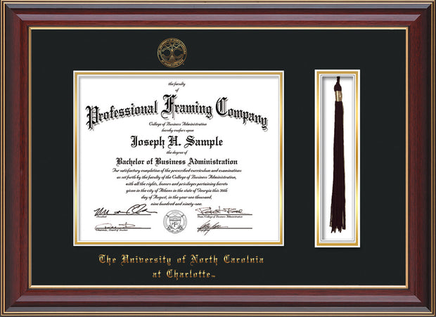 Image of University of North Carolina Charlotte Diploma Frame - Cherry Lacquer - w/Official Embossing of UNCC Seal & Name - Tassel Holder - Black on Gold mats