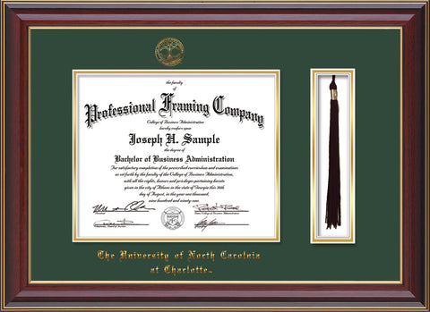 Image of University of North Carolina Charlotte Diploma Frame - Cherry Lacquer - w/Official Embossing of UNCC Seal & Name - Tassel Holder - Green on Gold mats