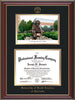 Image of University of North Carolina Charlotte Diploma Frame - Cherry Lacquer - w/Official Embossing of UNCC Seal & Name - Campus Watercolor - Black on Gold mats