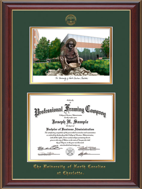 Unc Charlotte Diploma Frame Cherry Lacquer Watercolor