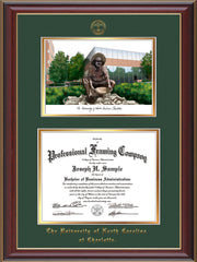Image of University of North Carolina Charlotte Diploma Frame - Cherry Lacquer - w/Official Embossing of UNCC Seal & Name - Campus Watercolor - Green on Gold mats
