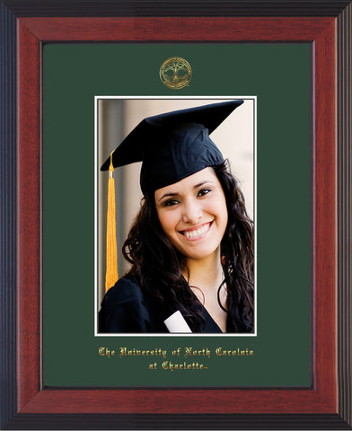 Image of University of North Carolina Charlotte 5 x 7 Photo Frame - Cherry Reverse - w/Official Embossing of UNCC Seal & Name - Single Green mat