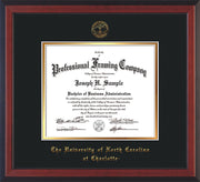 Image of University of North Carolina Charlotte Diploma Frame - Cherry Reverse - w/Official Embossing of UNCC Seal & Name - Black on Gold mats