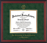 Image of University of North Carolina Charlotte Diploma Frame - Cherry Reverse - w/Official Embossing of UNCC Seal & Name - Green Suede on Gold mats