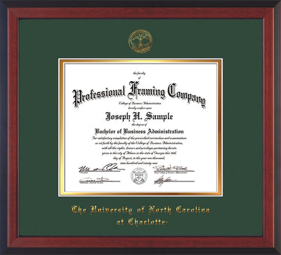 Image of University of North Carolina Charlotte Diploma Frame - Cherry Reverse - w/Official Embossing of UNCC Seal & Name - Green on Gold mats