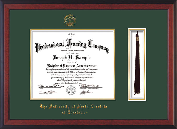 Image of University of North Carolina Charlotte Diploma Frame - Cherry Reverse - w/Official Embossing of UNCC Seal & Name - Tassel Holder - Green on Gold mats