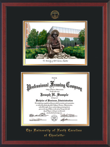 Image of University of North Carolina Charlotte Diploma Frame - Cherry Reverse - w/Official Embossing of UNCC Seal & Name - Campus Watercolor - Black on Gold mats