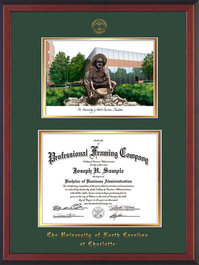 Image of University of North Carolina Charlotte Diploma Frame - Cherry Reverse - w/Official Embossing of UNCC Seal & Name - Campus Watercolor - Green on Gold mats