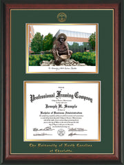 Image of University of North Carolina Charlotte Diploma Frame - Rosewood w/Gold Lip - w/Official Embossing of UNCC Seal & Name - Campus Watercolor - Green on Gold mats
