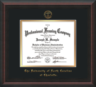 Image of University of North Carolina Charlotte Diploma Frame - Mahogany Braid - w/Official Embossing of UNCC Seal & Name - Black on Gold mats