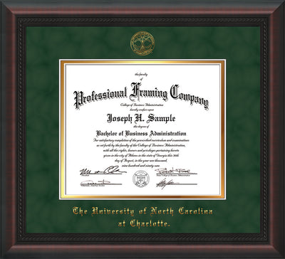 Image of University of North Carolina Charlotte Diploma Frame - Mahogany Braid - w/Official Embossing of UNCC Seal & Name - Green Suede on Gold mats