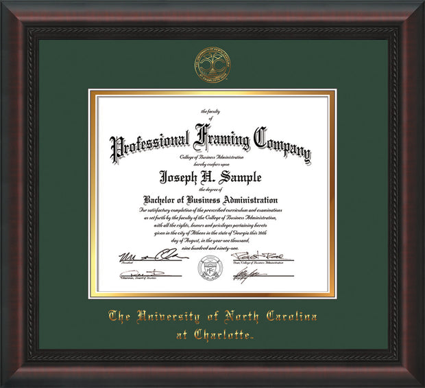 Image of University of North Carolina Charlotte Diploma Frame - Mahogany Braid - w/Official Embossing of UNCC Seal & Name - Green on Gold mats