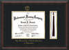 Image of University of North Carolina Charlotte Diploma Frame - Mahogany Braid - w/Official Embossing of UNCC Seal & Name - Tassel Holder - Black on Gold mats