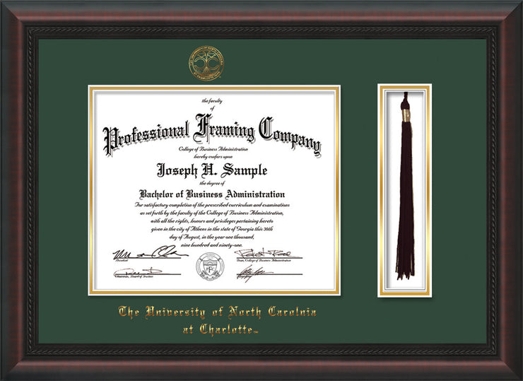 Image of University of North Carolina Charlotte Diploma Frame - Mahogany Braid - w/Official Embossing of UNCC Seal & Name - Tassel Holder - Green on Gold mats