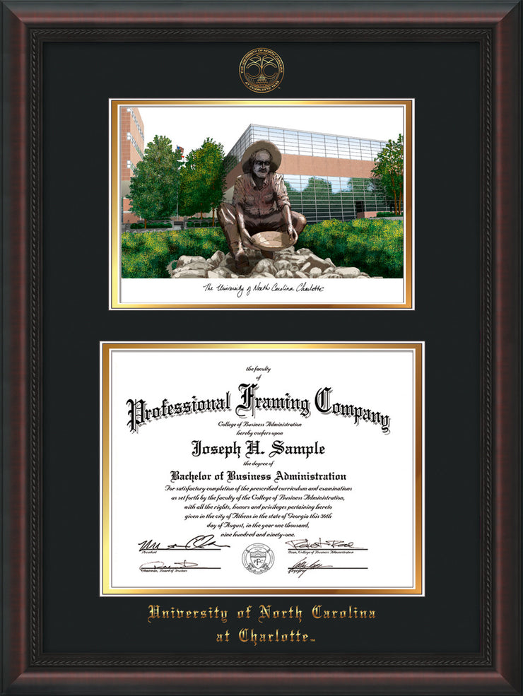 Image of University of North Carolina Charlotte Diploma Frame - Mahogany Braid - w/Official Embossing of UNCC Seal & Name - Campus Watercolor - Black on Gold mats