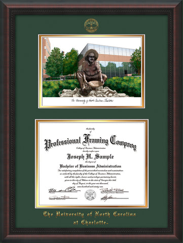 Image of University of North Carolina Charlotte Diploma Frame - Mahogany Braid - w/Official Embossing of UNCC Seal & Name - Campus Watercolor - Green on Gold mats