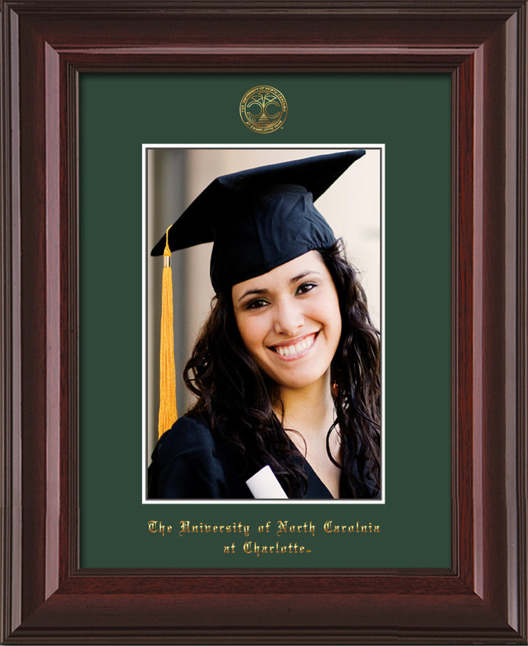 Image of University of North Carolina Charlotte 5 x 7 Photo Frame - Mahogany Lacquer - w/Official Embossing of UNCC Seal & Name - Single Green mat