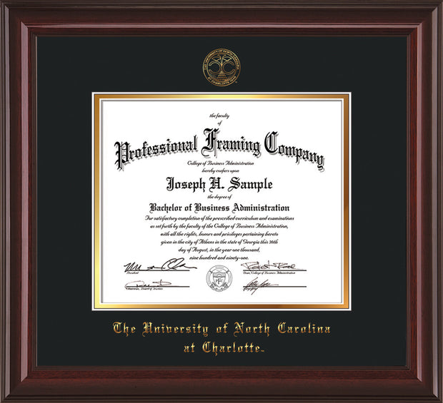 Image of University of North Carolina Charlotte Diploma Frame - Mahogany Lacquer - w/Official Embossing of UNCC Seal & Name - Black on Gold mats