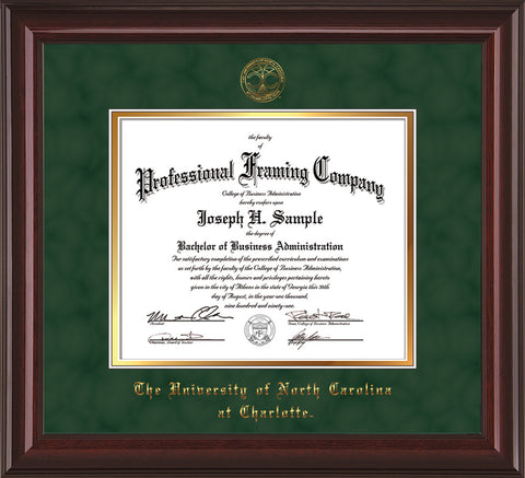 Image of University of North Carolina Charlotte Diploma Frame - Mahogany Lacquer - w/Official Embossing of UNCC Seal & Name - Green Suede on Gold mats