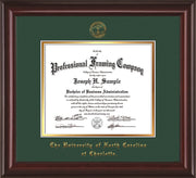 Image of University of North Carolina Charlotte Diploma Frame - Mahogany Lacquer - w/Official Embossing of UNCC Seal & Name - Green on Gold mats