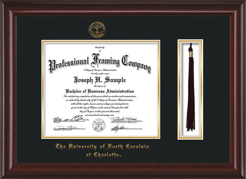 Image of University of North Carolina Charlotte Diploma Frame - Mahogany Lacquer - w/Official Embossing of UNCC Seal & Name - Tassel Holder - Black on Gold mats