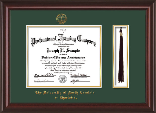 Image of University of North Carolina Charlotte Diploma Frame - Mahogany Lacquer - w/Official Embossing of UNCC Seal & Name - Tassel Holder - Green on Gold mats