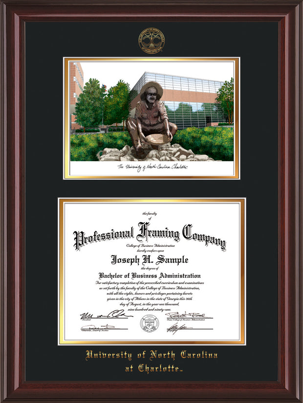 Image of University of North Carolina Charlotte Diploma Frame - Mahogany Lacquer - w/Official Embossing of UNCC Seal & Name - Campus Watercolor - Black on Gold mats