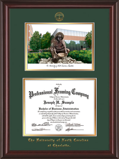 Image of University of North Carolina Charlotte Diploma Frame - Mahogany Lacquer - w/Official Embossing of UNCC Seal & Name - Campus Watercolor - Green on Gold mats