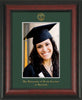 Image of University of North Carolina Charlotte 5 x 7 Photo Frame - Rosewood - w/Official Embossing of UNCC Seal & Name - Single Green mat