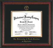Image of University of North Carolina Charlotte Diploma Frame - Rosewood - w/Official Embossing of UNCC Seal & Name - Black on Gold mats