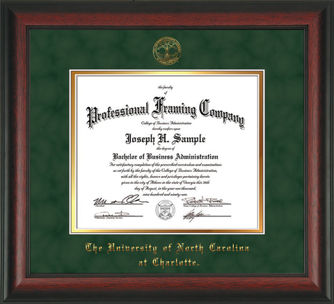 Image of University of North Carolina Charlotte Diploma Frame - Rosewood - w/Official Embossing of UNCC Seal & Name - Green Suede on Gold mats
