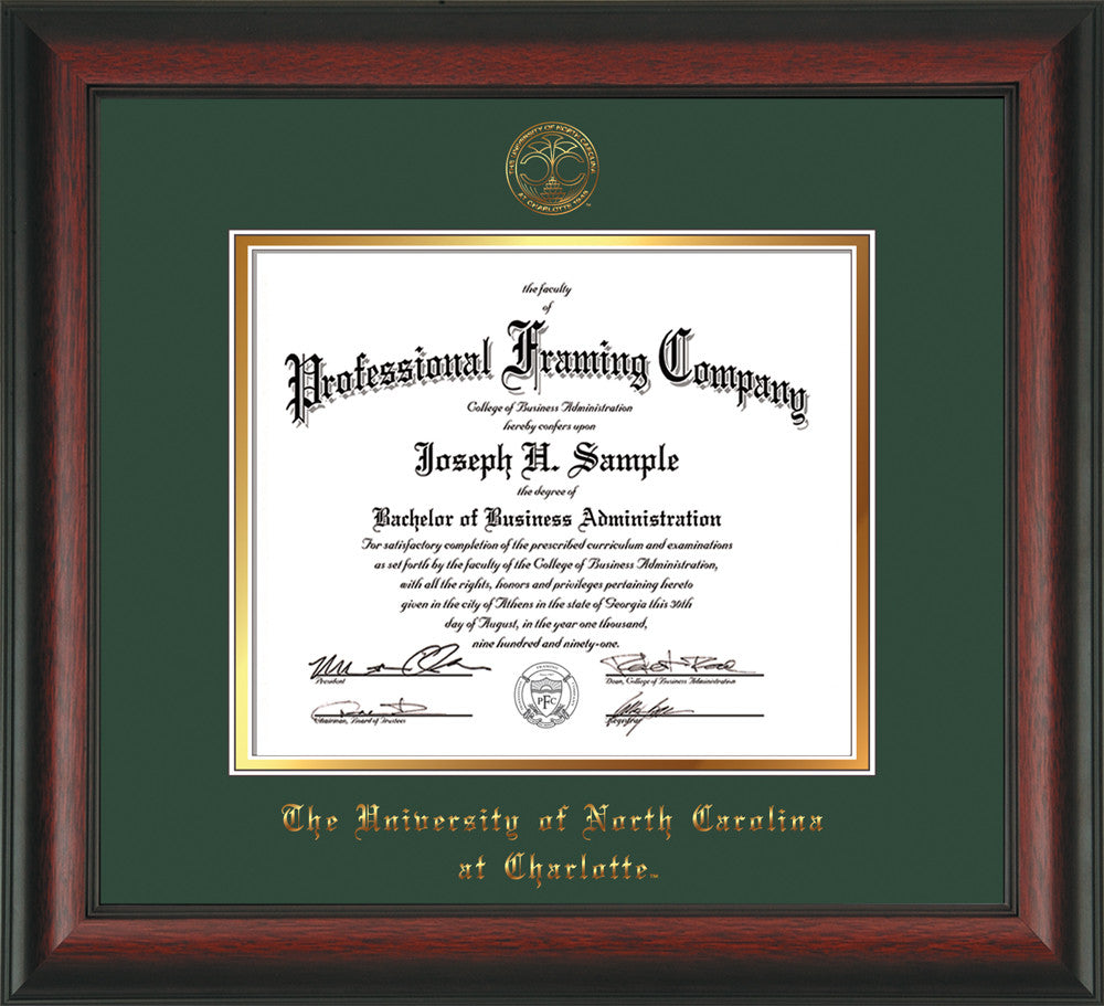 Unc Charlotte Diploma Frame Rosewood W Uncc Seal Green