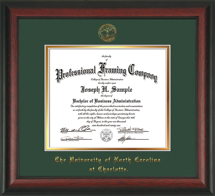 Image of University of North Carolina Charlotte Diploma Frame - Rosewood - w/Official Embossing of UNCC Seal & Name - Green on Gold mats