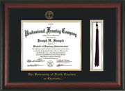 Image of University of North Carolina Charlotte Diploma Frame - Rosewood - w/Official Embossing of UNCC Seal & Name - Tassel Holder - Black on Gold mats