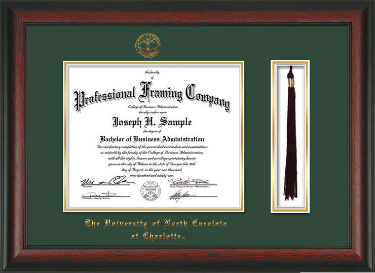 Image of University of North Carolina Charlotte Diploma Frame - Rosewood - w/Official Embossing of UNCC Seal & Name - Tassel Holder - Green on Gold mats