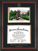 Image of University of North Carolina Charlotte Diploma Frame - Rosewood - w/Official Embossing of UNCC Seal & Name - Campus Watercolor - Black on Gold mats