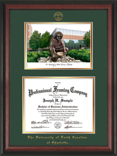 Image of University of North Carolina Charlotte Diploma Frame - Rosewood - w/Official Embossing of UNCC Seal & Name - Campus Watercolor - Green on Gold mats