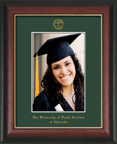 Image of University of North Carolina Charlotte 5 x 7 Photo Frame - Rosewood w/Gold Lip - w/Official Embossing of UNCC Seal & Name - Single Green mat