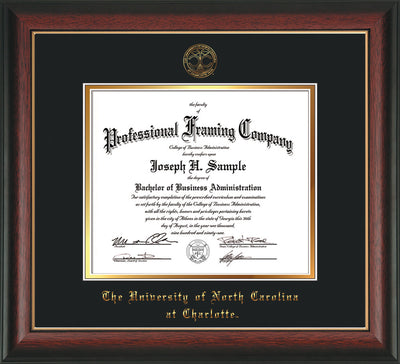 Image of University of North Carolina Charlotte Diploma Frame - Rosewood w/Gold Lip - w/Official Embossing of UNCC Seal & Name - Black on Gold mats