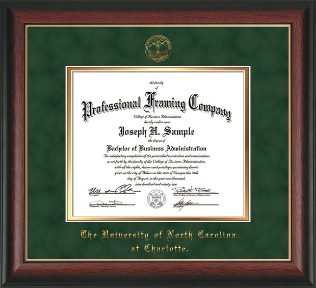 Image of University of North Carolina Charlotte Diploma Frame - Rosewood w/Gold Lip - w/Official Embossing of UNCC Seal & Name - Green Suede on Gold mats