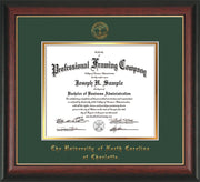 Image of University of North Carolina Charlotte Diploma Frame - Rosewood w/Gold Lip - w/Official Embossing of UNCC Seal & Name - Green on Gold mats
