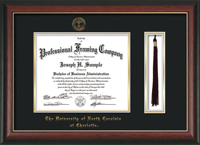 Image of University of North Carolina Charlotte Diploma Frame - Rosewood w/Gold Lip - w/Official Embossing of UNCC Seal & Name - Tassel Holder - Black on Gold mats