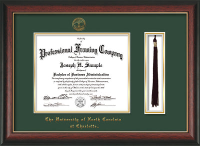 Image of University of North Carolina Charlotte Diploma Frame - Rosewood w/Gold Lip - w/Official Embossing of UNCC Seal & Name - Tassel Holder - Green on Gold mats