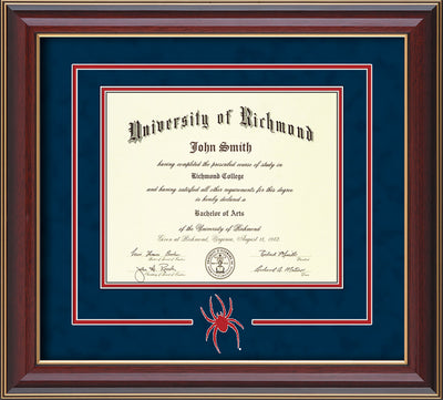 Image of University of Richmond Diploma Frame - Cherry Lacquer - 3D Laser Spider Logo Cutout - Navy Suede on Red mat