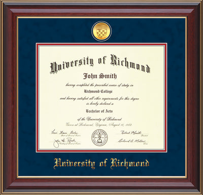 Image of University of Richmond Diploma Frame - Cherry Lacquer - w/24k Gold-Plated Medallion UR Name Embossing - Navy Suede on Red mats