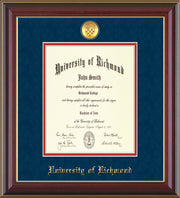 University of Richmond Diploma Frame - Cherry Lacquer - w/24k Gold-Plated Medallion UR Name Embossing - Navy Suede on Red mats