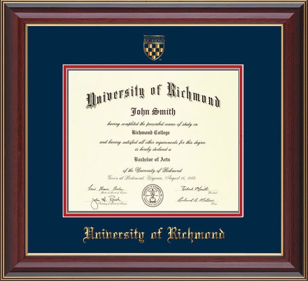 Image of University of Richmond Diploma Frame - Cherry Lacquer - w/Embossed Seal & Name - Navy on Red mats