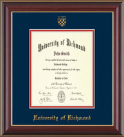 University of Richmond Diploma Frame - Cherry Lacquer - w/Embossed Seal & Name - Navy on Red mats