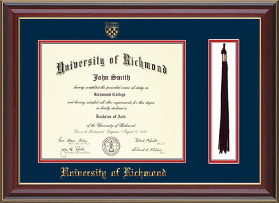 Image of University of Richmond Diploma Frame - Cherry Lacquer - w/Embossed Seal & Name - Tassel Holder - Navy on Red mats