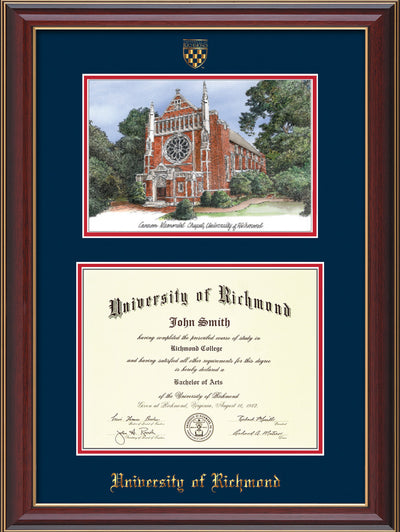 Image of University of Richmond Diploma Frame - Cherry Lacquer - w/Embossed Seal & Name - Watercolor - Navy on Red mats